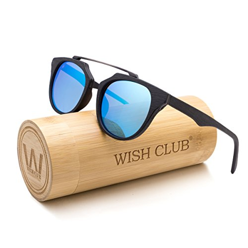 WISH CLUB Wood Frame Polarized Lenses Sunglasses for Women and Men Adults Wooden Cat Eye Bamboo Vintage Handmade Fashion Eyewear Mirrored Light Retro Glasses with Box UV400 Protection - The In Club Sunglasses