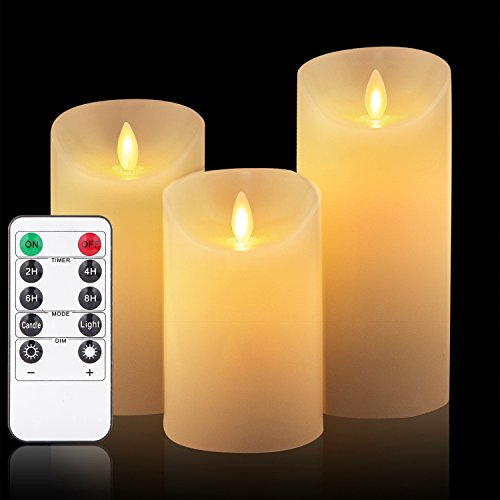 OShine Flameless Candles,LED Candles Set of 4 5'' 6'' H(3.15'' D) Flickering flame with Remote and Timer Real Wax Pillar | Bathroom, Kitchen, Home Decoration | 10-Key Control | Reusable, 31, Ivory (31) by OShine (Image #7)