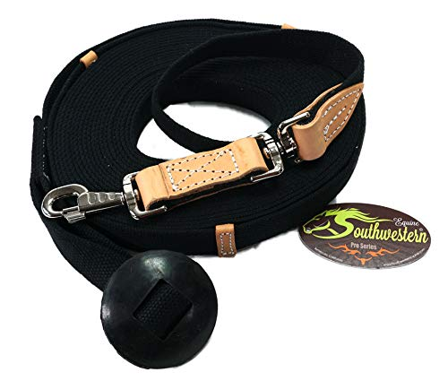 Southwestern Equine 35' Flat Cotton Web Lunge Line with Bolt Snap & Rubber Stop (35', ()