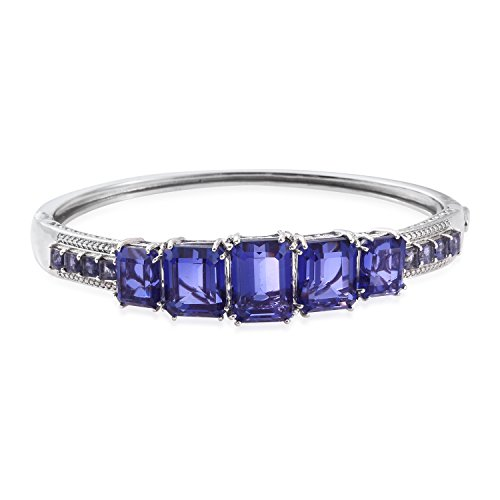 Quartz Bangle Bracelet in Platinum Plated Silver 7.5 in - Octagon Bangle