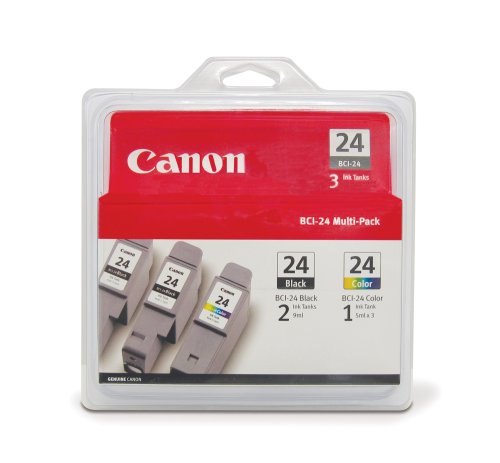 Canon BCI-24 Ink Cartridges Two Black/One Color -3 Pack ()