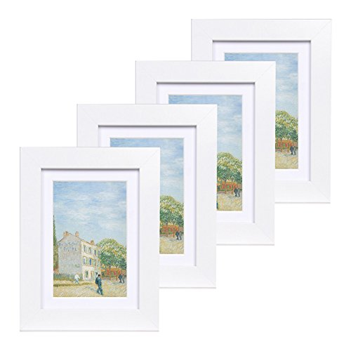 5x7 Wood Picture Frame - Flat Profile - Set of 4 - for Picture 4x6 with Mat or 5x7 without Mat (White)