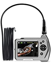 Industrial Endoscope, Teslong Ultra Slim Borescope with 5.5mm Micro Inspection Camera, Waterproof Semi-Rigid Gooseneck, 3.5inch LCD Screen, 6 LED Lights, Lithium-Ion Battery, Tool Box