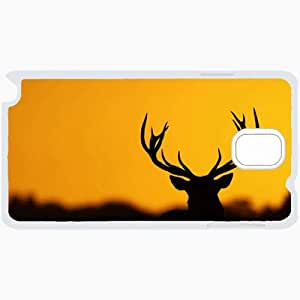 Customized Samsung Galaxy NOTE 3 Case, Diy Custom Samsung Note III Note3 Hard Shell Cover Case Deer silhouette background White