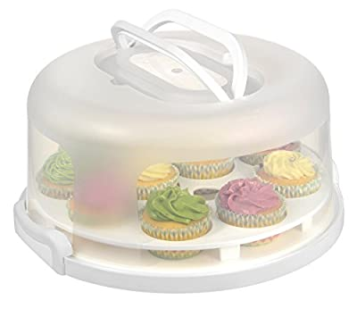 "10"" Portable Plastic Cake Carrier , Cupcake and Pie , Perfect for Potlucks , Picnics and Parties"