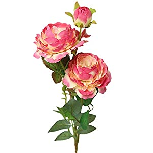 MARJON FlowersArtificial Flowers,Fake Flowers Silk Flowers Dried Flowers Valentine Gift Vintage Bouquet Artificial Fake Western Rose Flower Peony Bridal Bouquet Wedding Home Decor (HotPink) 106