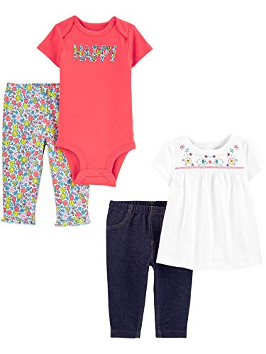 Simple Joys by Carter's Set di 4 Pezzi, Body e Pantaloni Bambina, Pacco da 4 1