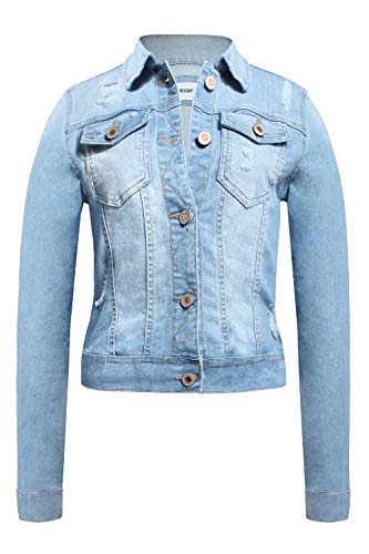 FASHION BOOMY Womens Button Down Denim Jacket - Long Sleeve Classic Cropped Blue Jeans Outerwear - Regular and Plus Sizes Medium, -