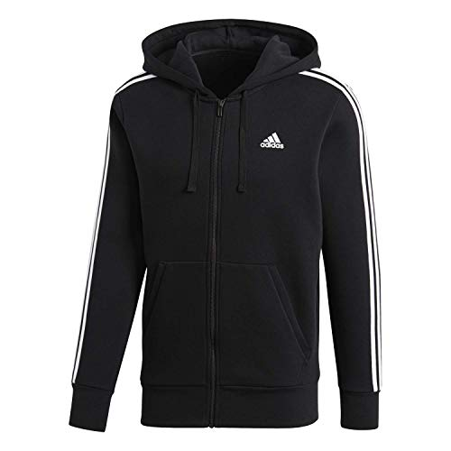 adidas Men's Essentials 3-Stripe Full Zip Fleece Hoodie, Bla