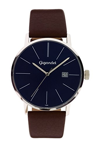 Gigandet Men's Quartz Watch Minimalism Analog Leather Strap Brown Blue G42-012