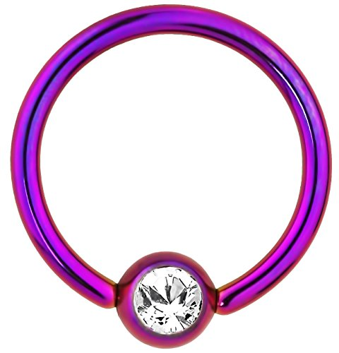 Jeweled Steel Captive Ring (14g 1/2 Inch Surgical Steel Purple IP Plated Jeweled Captive Bead CBR Hoop Ring)