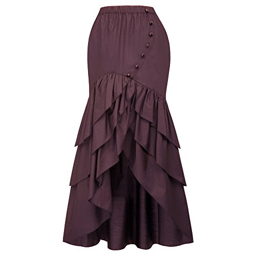 (Belle Poque Vintage Steampunk Gothic Victorian Ruffled High-Low Skirt BP000406 (Small,)