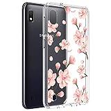 Vinve for Samsung Galaxy A10 Case, Anti-Scratch Shockproof Cover Hard Back Panel + TPU Bumper Slim Phone case (Peach Blossom)