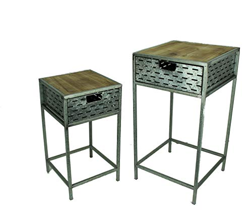 HomeView Design Rustic Galvanized Metal Wood Top Stands with Drawer Set of 2