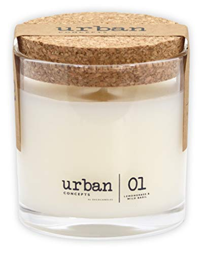 Urban Concepts by DECOCANDLES   Tranquility – Lemongrass & Wild Basil – Highly Scented Candle – Long Lasting – Hand…