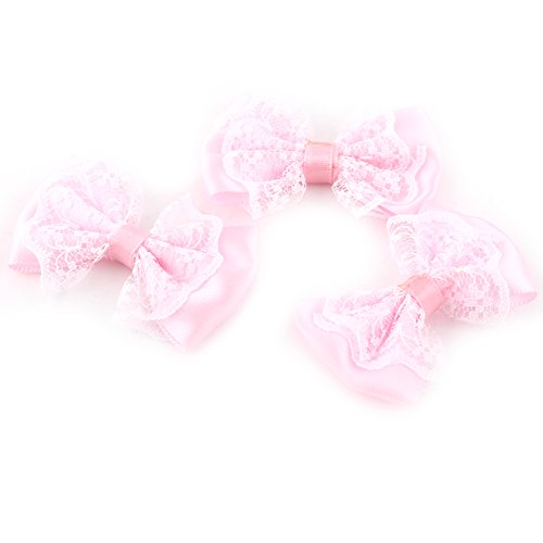 50 Pcs Bow Shaped Appliques Tie Lace Craft Bowknot Wedding Decoration(Pink)