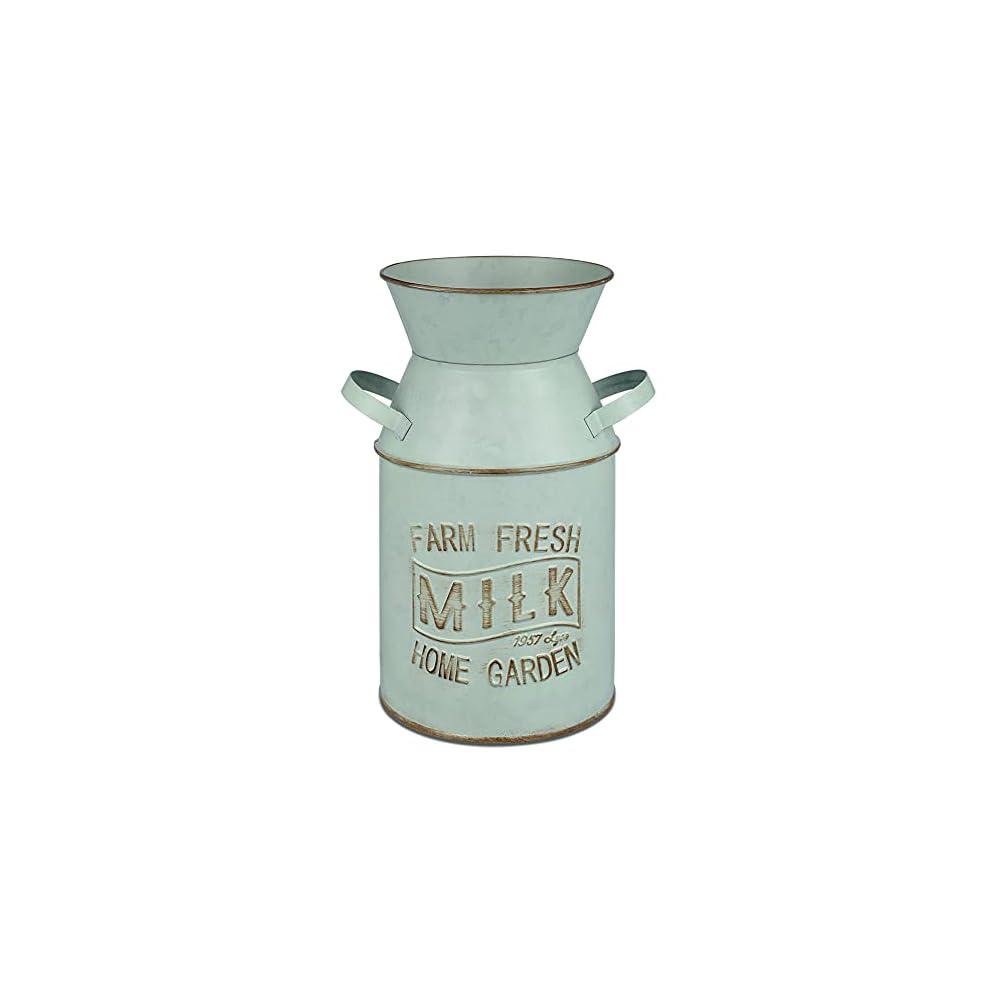 HyFanStr Vintage Green Vase Rustic Milk Can Shabby Chic Metal Vase Flowers Bucket Jug for Home Kitchen Farmhouse Decor