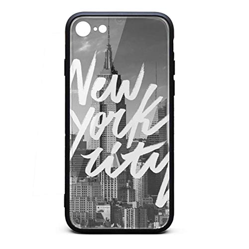 - Phone Case for iPhone8/iPhone7 Punk New York Conference Design Tempered Glass Black Anti-Scratch TPU Rubber Bumper Shock Protector for Women Girls Back Cover