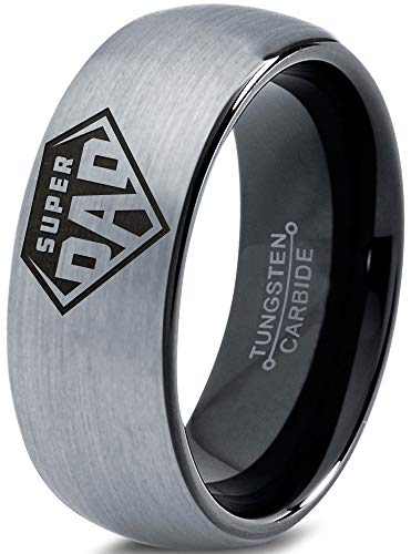 Zealot Jewelry Tungsten Superhero Super Dad Emblem Symbol Band Ring 8mm Men Women Comfort Fit Black Dome Brushed Gray Polished Size 12.5 -