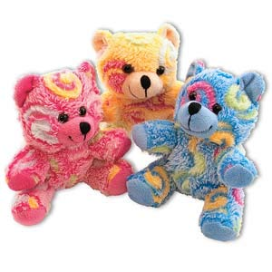 1 Dozen (12) Adorable Plush Rainbow-Swirl Teddy Bears (Approx. 5in. X 3in.) / Party / Prize / Favor /Gift by UST