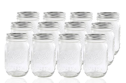 Ball Glass Mason Jar with Lid and Band, Regular Mouth, 12 ()