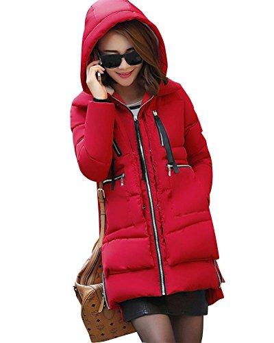 Mujer Invierno Más Gruesa Abrigo Parka Con Capucha Chaqueta De Acolchado Anorak Jacket Rojo