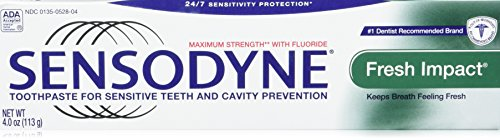 Sensodyne Fresh Impact Toothpaste for Sensitive Teeth and Cavity Protection with Fluoride, Maximum Strength, 4 oz Tubes (Pack of 2) ()