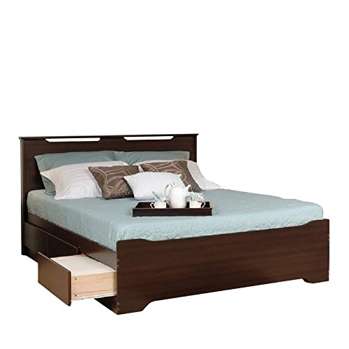 - Prepac Coal Harbor Full Platform Storage Bed with Headboard in Espresso