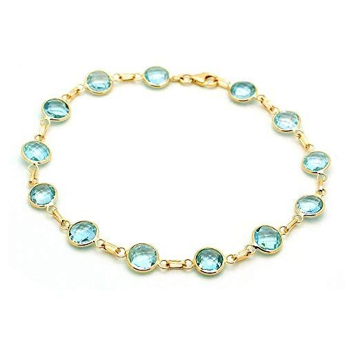 (Handmade 14k Yellow Gold Gemstone Bracelet with 6mm Round Blue Topaz Stations)