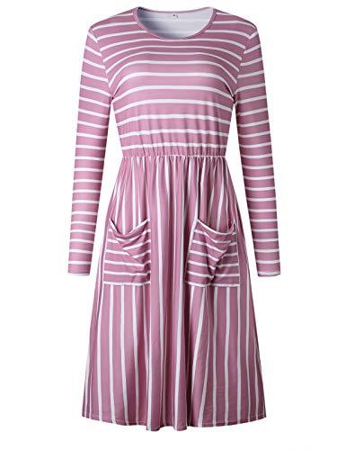 VYNCS-Womens-Long-Sleeve-Midi-Pleated-Swing-Dress-Stripe-Elastic-Waist-Casual-Knee-Length-Dress-with-Pockets