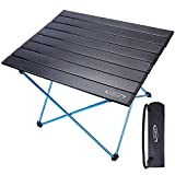 G4Free Portable Camping Table Aluminum Folding Table Compact Roll Up Tables with Carrying Bag for Outdoor Camping Hiking Picnic(Black Large)