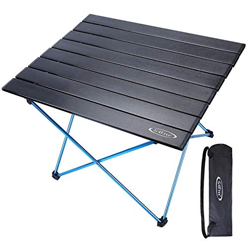G4Free Portable Camping Table Aluminum Folding Table Compact Roll Up Tables with Carrying Bag for Outdoor Camping Hiking Picnic(Black Large) ()