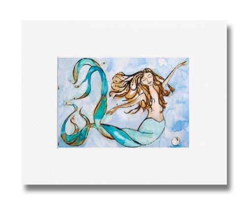 Mermaid Art - Watercolor Mermaid Print Home Decor Titled Sweet Dreams by Tamara Kapan