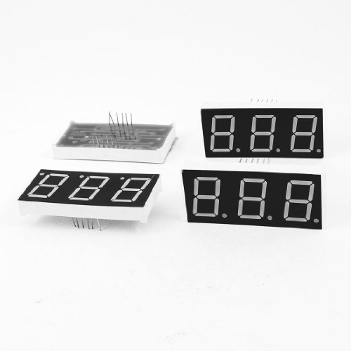 Uxcell a13071500ux0906 Common Cathode 12 Terminals 3 Bit 7 Segment LED Display Digital Tube, 4 Piece, 0.8