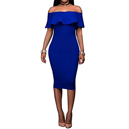 Fire Kirin Women's Off Shoulder Ruffles Back Split Slim Stretch Cocktail Party Bodycon Midi Dress M Royal Blue (Dresses For Women Blue Cocktail)