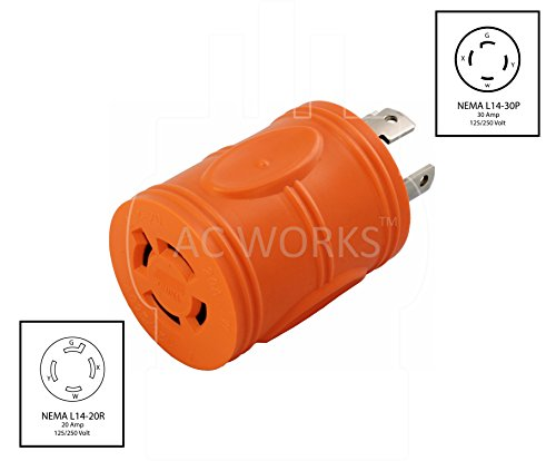 AC WORKS [ADL1430L1420] Locking Adapter 30Amp 4 Prong 125/250Volt L14-30P Locking Plug to L14-20R 20Amp 4Prong 125/250Volt Locking Female Connector Adapter by AC WORKS (Image #1)