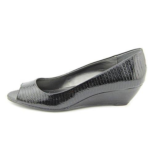 Zapatillas De Cuña Para Mujer Alfani Cammi Peep Toe Negras