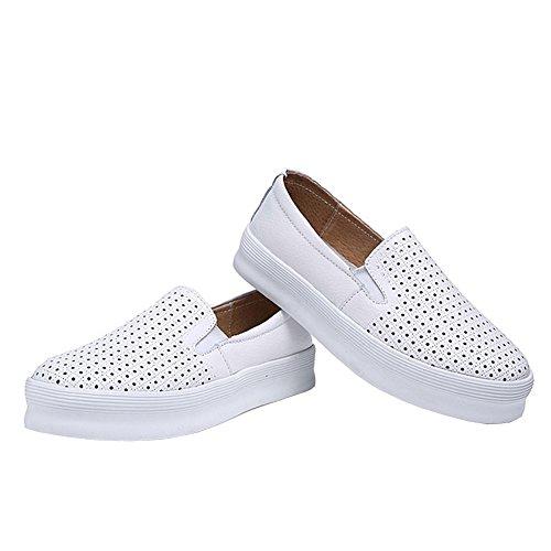 Lisianthus Mujer Plataforma Soporte de Hollow Out zapatos de Mocasines. Blanco