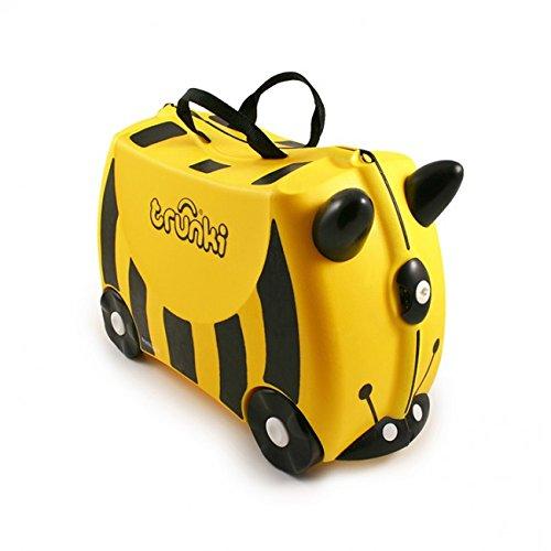 Trunki Original Kids Ride-On Suitcase and Carry-On Luggage - Zimba Zebra (White)