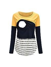 BIHSD Maternity Clothing Nursing Tops Breastfeeding for Women Long Sleeve T-Shirt