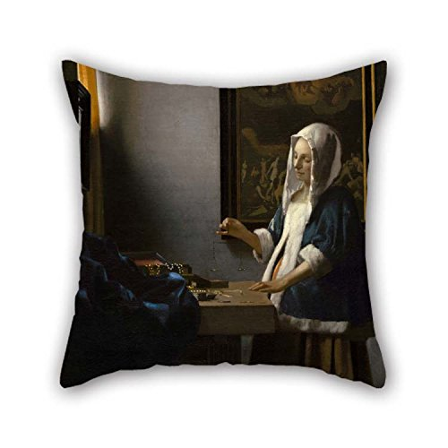 Vermeer Dot - The Oil Painting Johannes Vermeer - Woman Holding A Balance Pillow Covers Of 18 X 18 Inches / 45 By 45 Cm Decoration Gift For Gril Friend Family Boy Friend Her Boys Indoor (2 Sides)