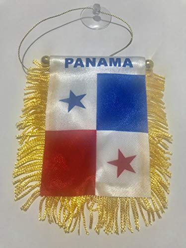 Panama Mini Flag 4''x6'' Window Banner w/suction cup - Vivid Color and UV Fade Resistant - Prime Outside Garden Home Decor (Panama-shops)