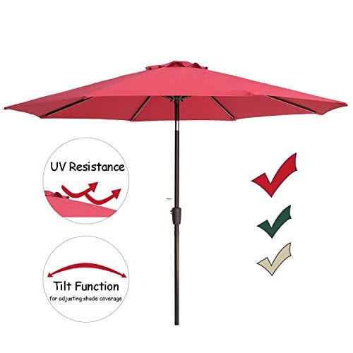 SUNNYARD 9 Ft Aluminum Patio Umbrella Outdoor Market Table Umbrella with Push Button Tilt and Crank, 8 Ribs, Red