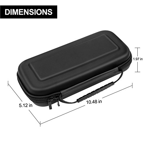 PECHAM Travel Carrying Case for Nintendo Switch with 10 Built-in Game Card Holders - Joy-con & Game Console Accessories Protective Storage Bag (Black)