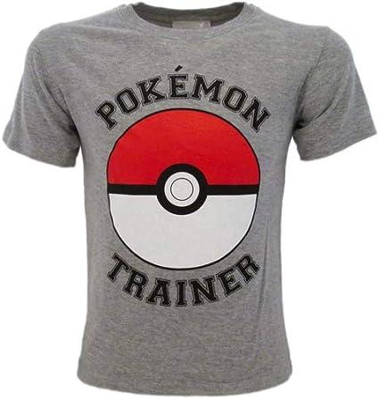 Fashion UK T-Shirt Pokemon Originale Grigia Trainer Pikachu Pok/émon Ufficiale Maglia Maglietta Bimbo Ragazzo
