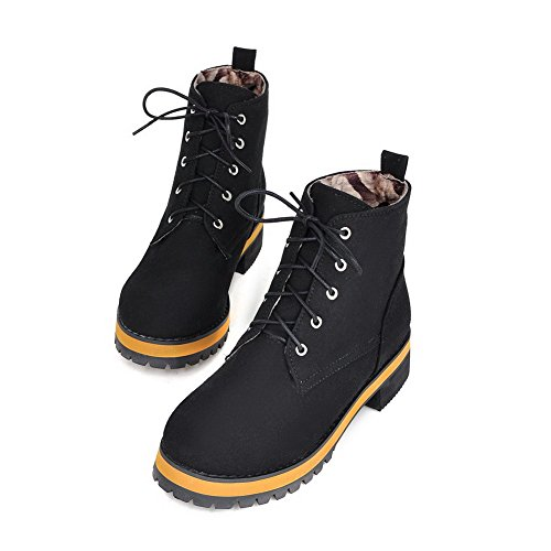 Allhqfashion Womens Frosted Lace-up Ronde Dichte Neus Lage Hakken Lage Laarzen Zwart
