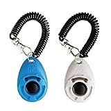 LaZimnInc Dog Training Clicker with Wrist Strap - Pet Training Clicker, Big Button Clicker Set, 2-Pack(Blue + White)