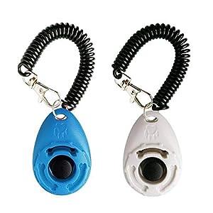 LaZimnInc Dog Training Clicker with Wrist Strap – Pet Training Clicker, Big Button Clicker Set, 2-Pack(Blue + White)
