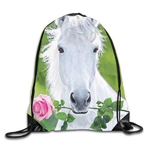 PJHDCK White Horse with Flower Gym Sport Bag Drawstring Bag Backpack Draw Cord Bag for Men Women Gym,Sport,Yoga,Dance,Travel
