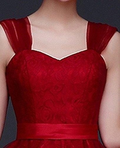 Träger Abendkleid Bright Damen Breite Cocktailkleid Weinrot Great DL0016A AwCSXqncqx